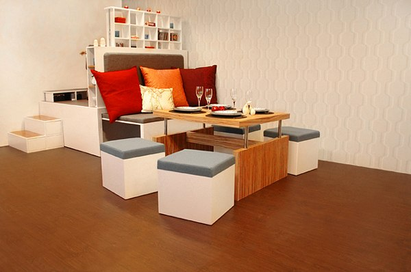 Modular fold out living room furniture set